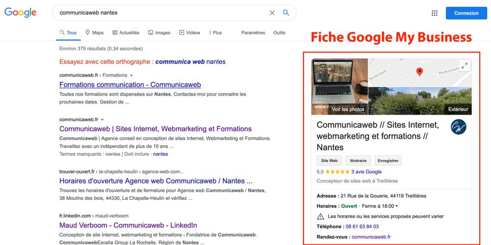 Fiche Google My Business par Communicaweb